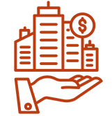Icon of hand holding a business